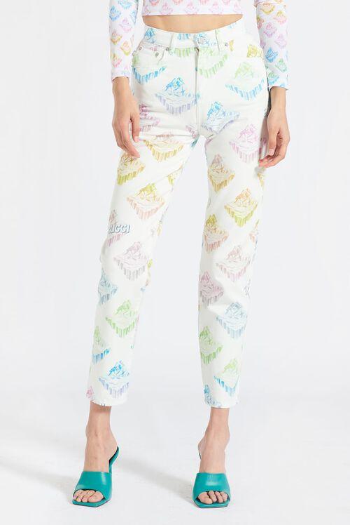 Arctic Rainbow Tara Tapered Jeans White