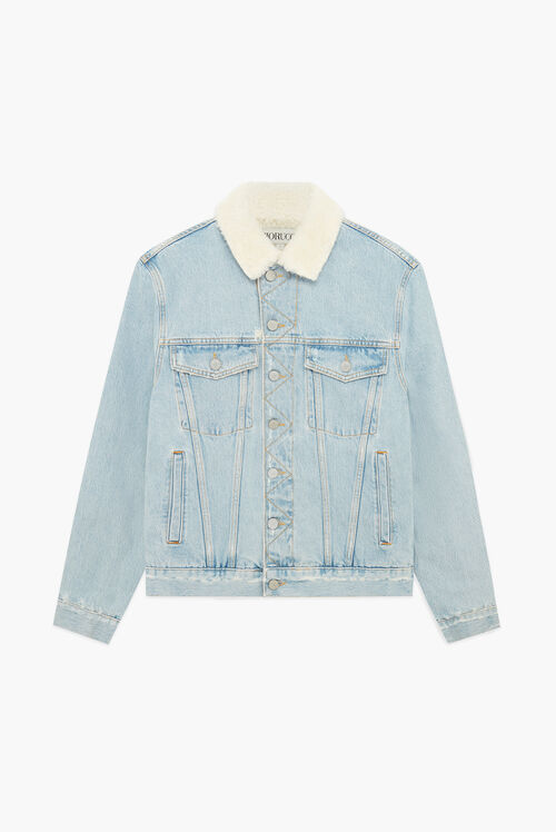 Nico Shearling Trucker Jacket Blue