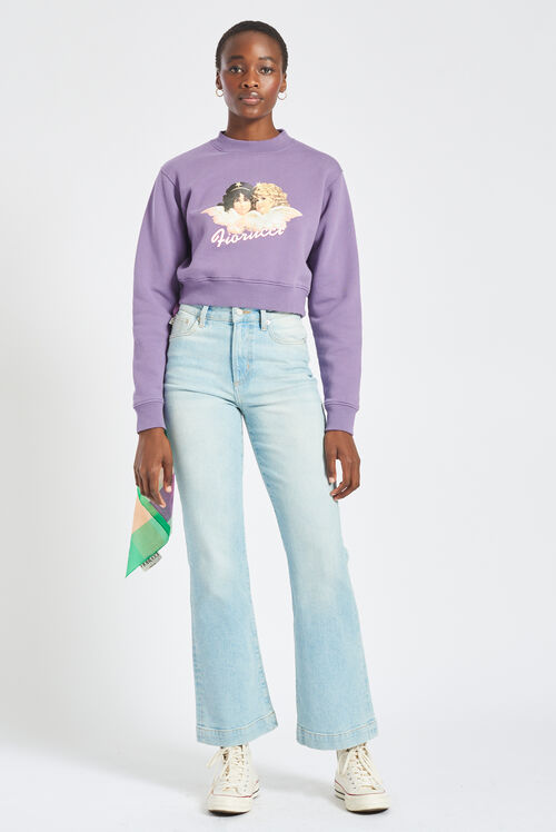 Angels Crop Sweatshirt Purple