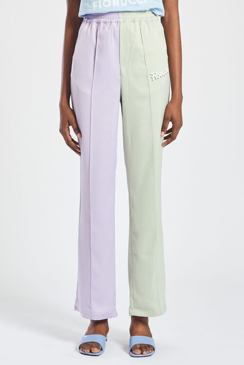 Logo Pastel Satin Straight Leg Trousers Lilac & Green
