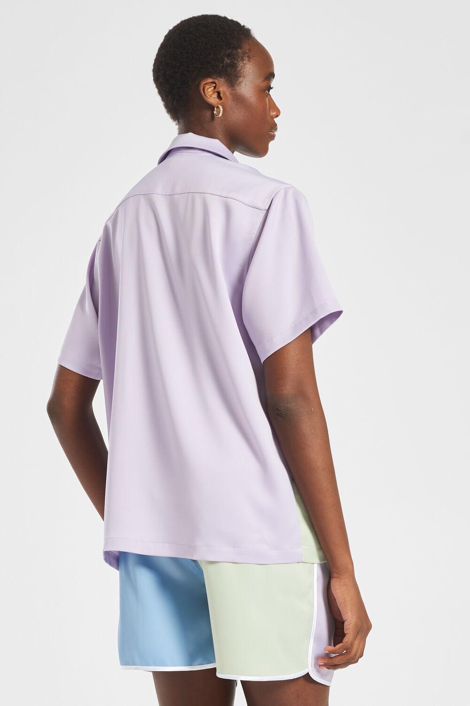 Logo Pastel Satin Bowling Shirt Lilac & Green