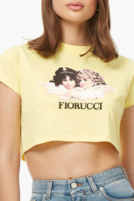 Angels Logo Crop T-Shirt Lemon Yellow