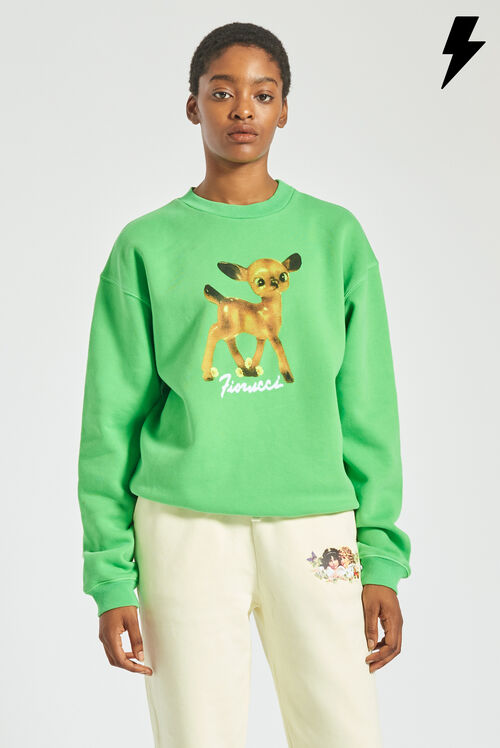 Woodland Deer Sweatshirt Green