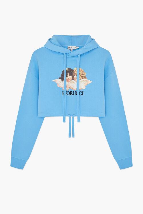 Angels Crop Hoodie Blue