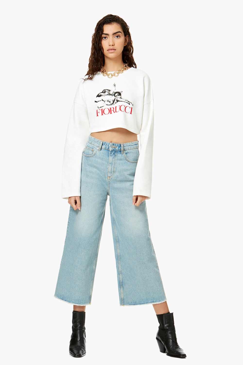 Stoned Angels Crop Sweat White