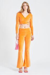 Logo Velour Cardigan Orange