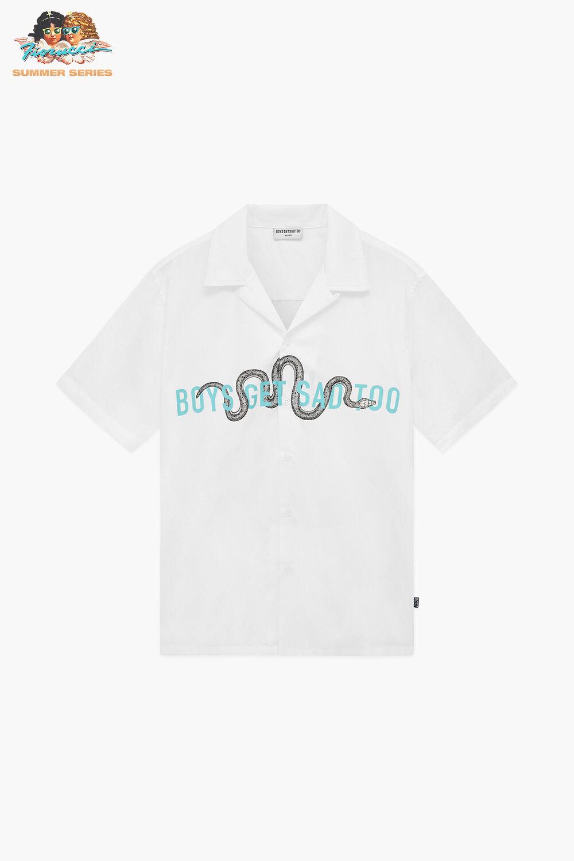 Boys Get Sad Too Snake Cuban Shirt White