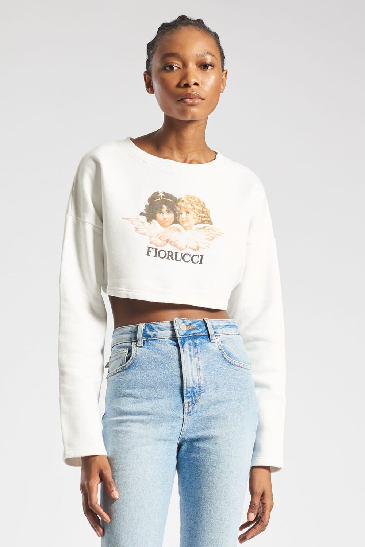 Angels Crop Sweatshirt White