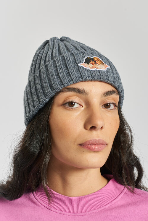 Angels Ribbed Beanie Grey