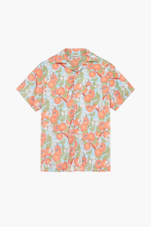 Peaches Print Pastel Short Sleeve Shirt Blue