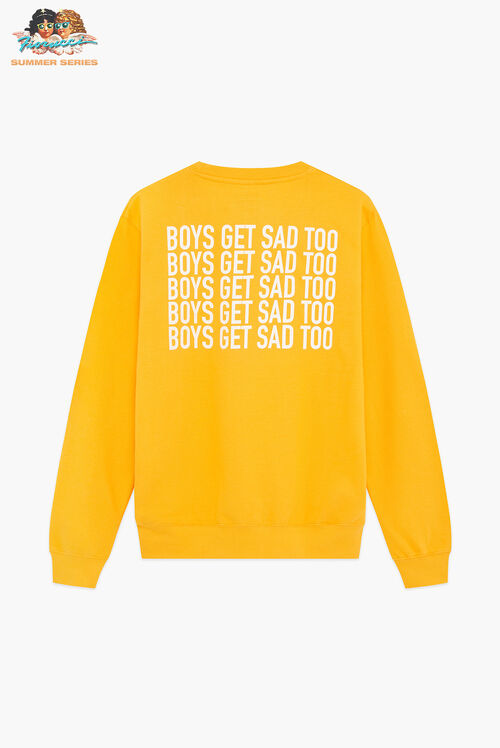 Boys Get Sad Too Block Logo Crewneck Sweatshirt Gold