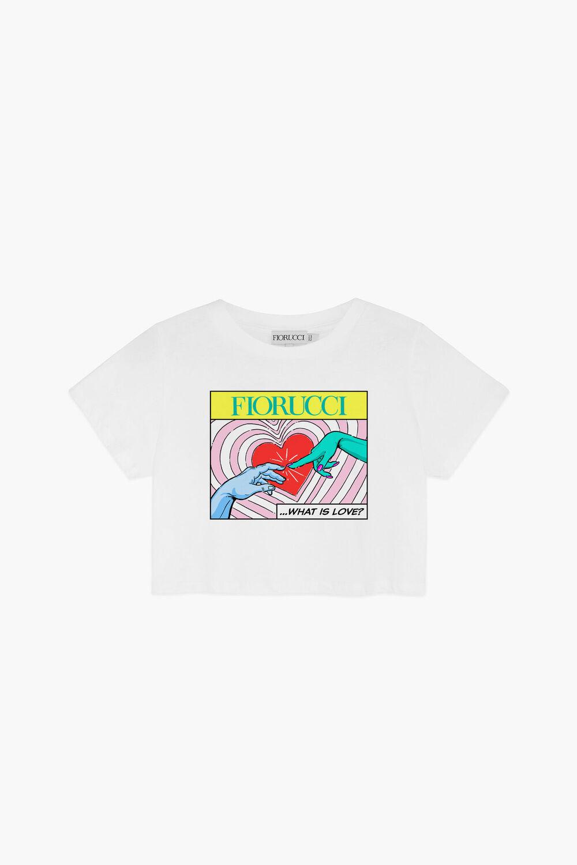 What Is Love Print Crop T-Shirt White