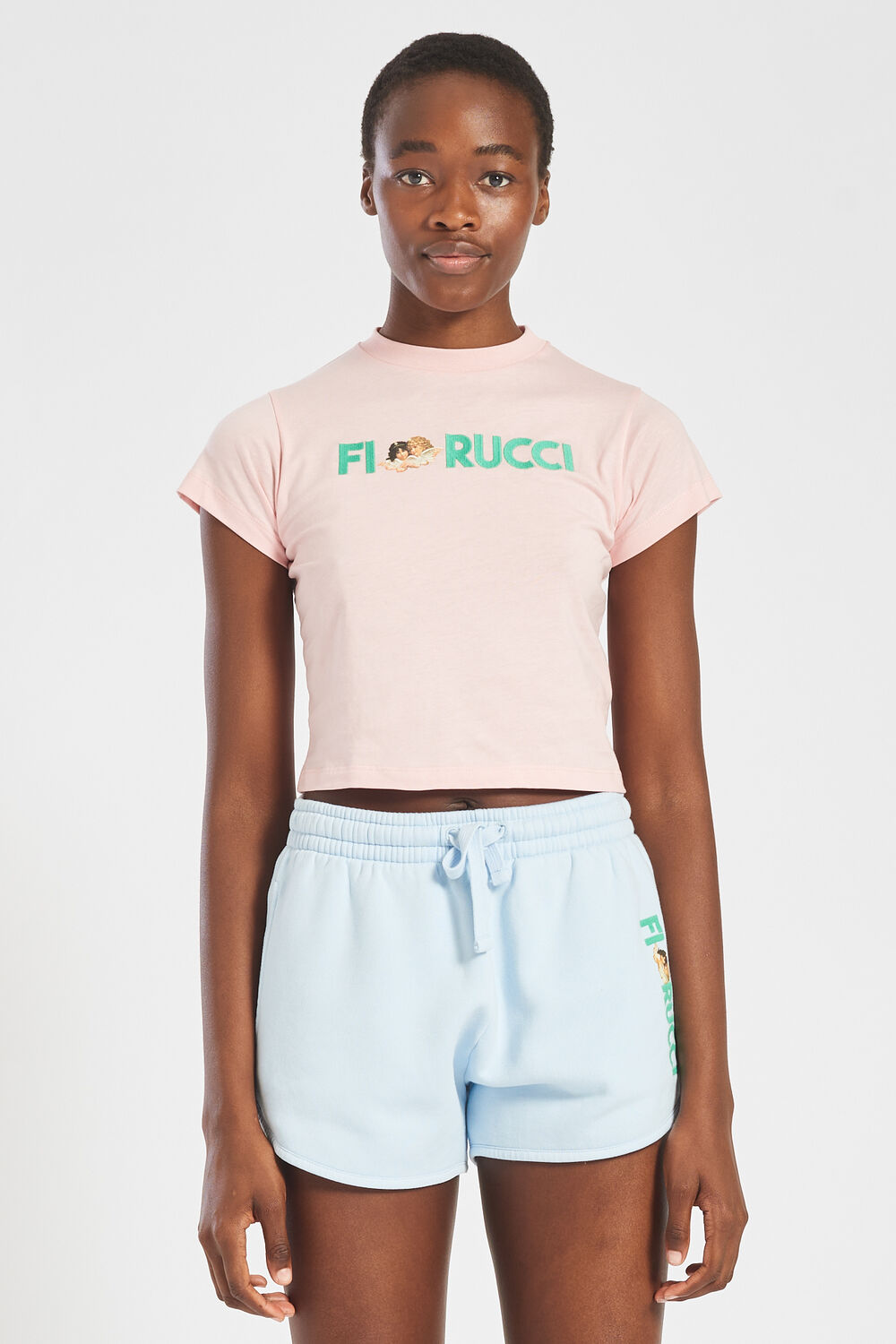 Embroidered Logo Angels Crop T-Shirt Pale Pink