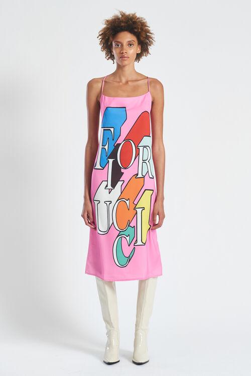 Flying Logo Slip Midi Dress Pink