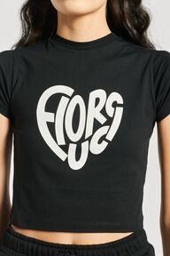 Heart Logo Crop T-Shirt Black