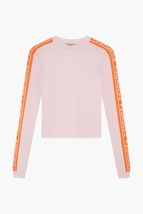 Rib Logo Knit Sweater Pink