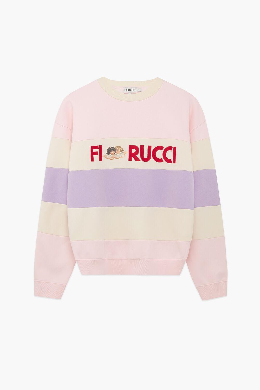 Embroidered Logo Angels Stripe Sweatshirt Pink