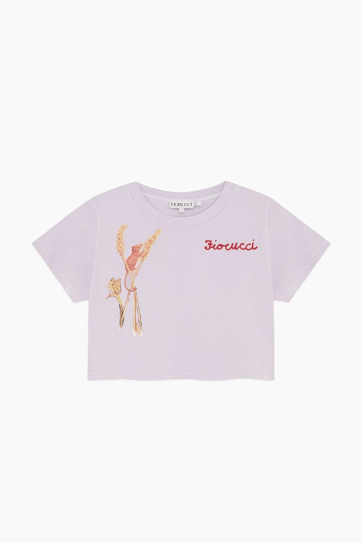 Woodland Mouse Crop T-Shirt Lilac