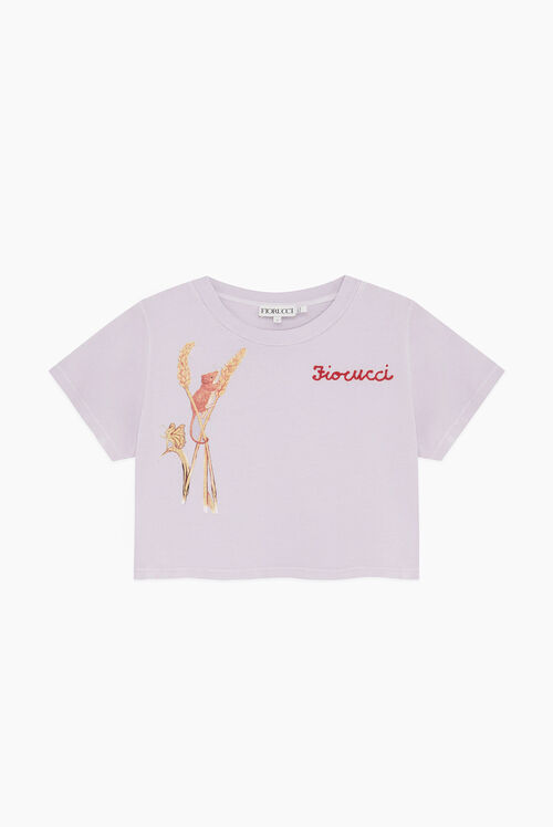 Woodland Mouse Crop T-Shirt Lilac