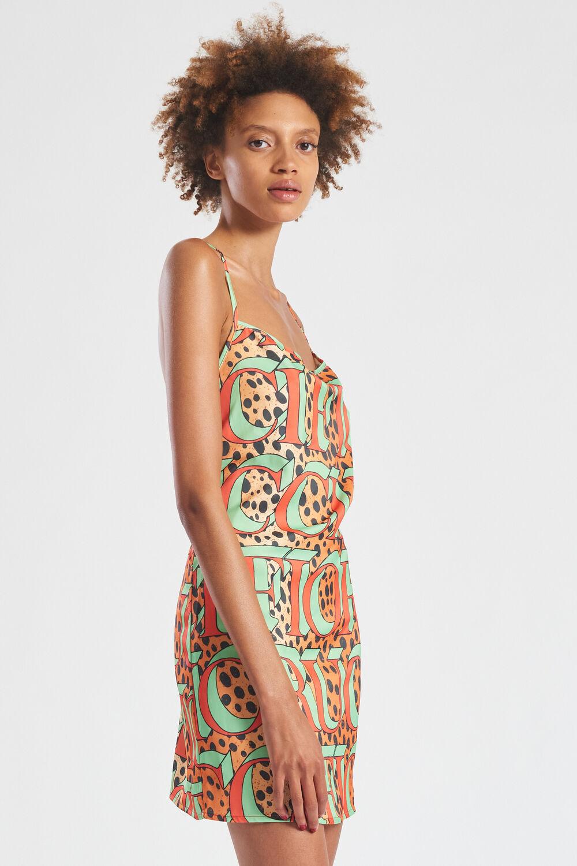 Leopard Print Logo Mini Slip Dress Multi