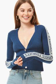 Rib Logo Tape Cardigan Blue