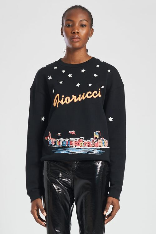 Portofino Embroidered Sweatshirt Black