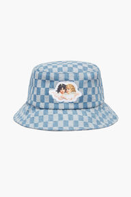 Check Bucket Hat Pale Blue