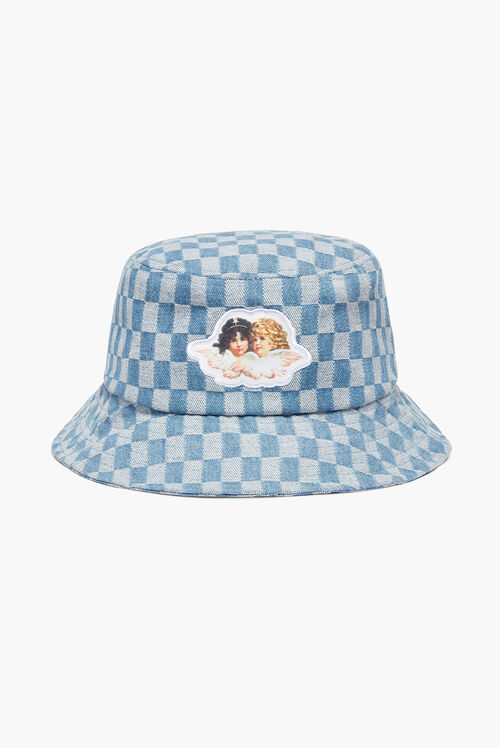 Check Bucket Hat Pale Blue