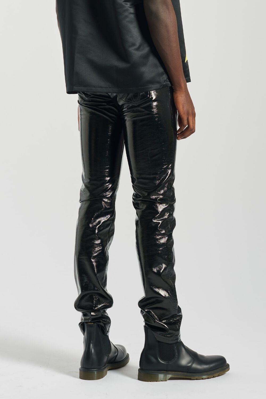 Vinyl Slim Fit Trousers Black