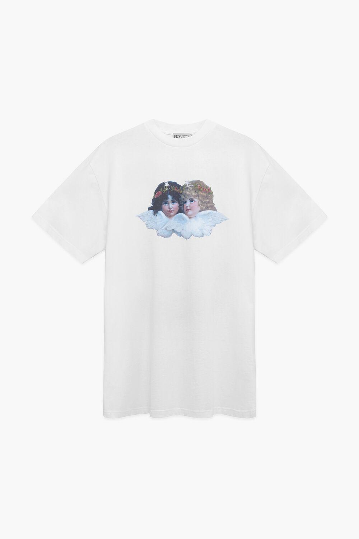 Bear and Angel T-Shirt Dress White