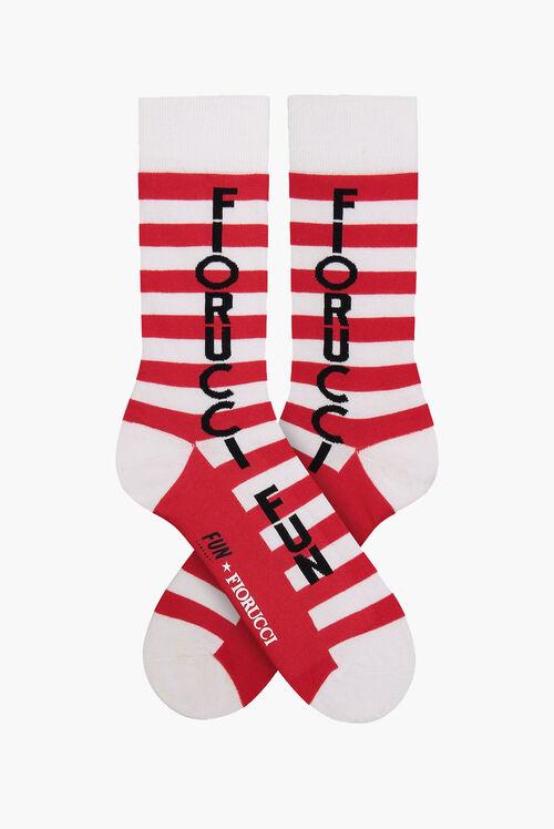 Fiorucci x Fun Striped Red & White Crew Socks