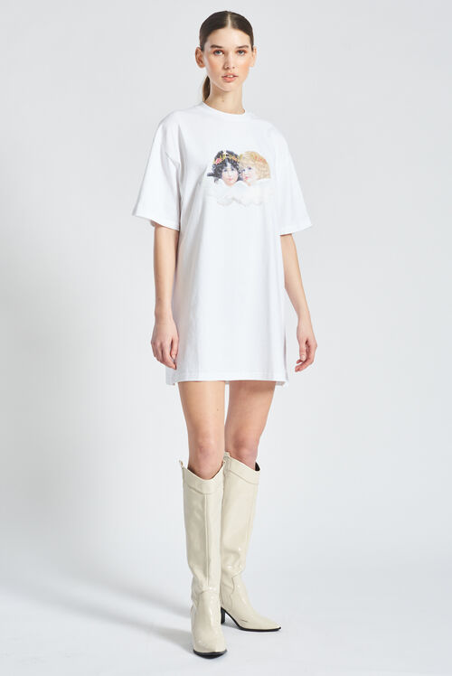 Bear and Angel T-Shirt Dress White