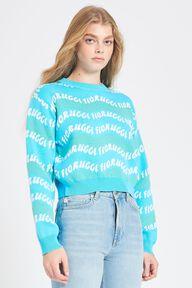 Wave Print Crop Knit Jumper Blue