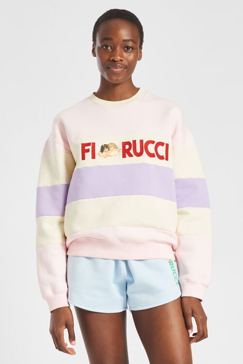Embroidered Logo Angels Stripe Sweatshirt Multi