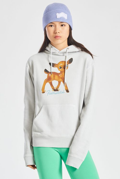 Deer Graphic Hoodie Off White