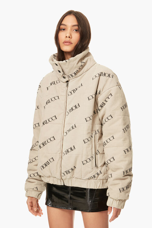 Scattered Logo Cord Puffer Beige